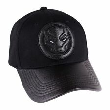 OFFICIAL MARVEL COMICS - BLACK PANTHER PU SYMBOL STRAPBACK BASEBALL CAP (NEW)