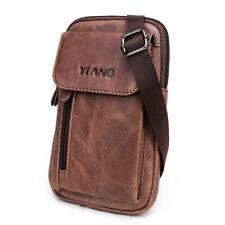 Men Genuine Leather Multifunction Crossbody Bag Belt Pouch with Shoulder Strap &