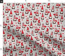 Valentine Gnomes Red Grey Cute Holiday Valentines Spoonflower Fabric by the Yard
