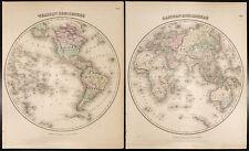 Carta antica [1857,Colton] : Mappamondo - Western & Emisfero Orientale