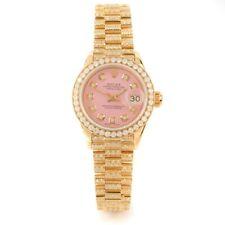 Rolex Ladies YG President - Pink Diamond Dial - Pave Diamond Band/ Diamond Bezel