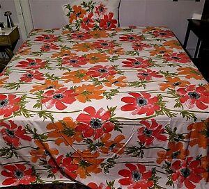 VTG Vera Neumann Burlington Top Sheet 108X1150 Pillowcase Pink & Orange Flowers
