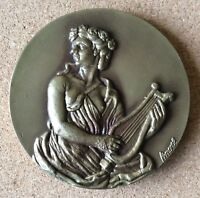 .THE MUSES,GREEK MYTHOLOGY,ARTS PERSONIFICATION,STUNNING HUGE BRONZE MEDAL.80 MM