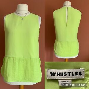 Whistles Green Sleeveless Top UK10 Bright Summer