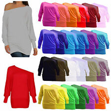 Over sized Womens Loose Long Sleeve ONE OFF Shoulder Blouse Baggy Batwing Top