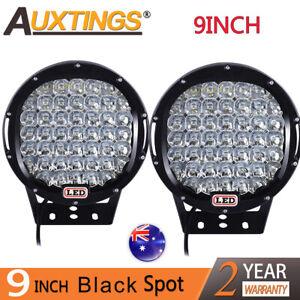 2x 9 inch CREE LED SPOT Driving Lights Offroad 4X4 Round Spotlights Black 12V24V