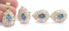 18Kt Diamond & Lonoon Blue Topaz YG Jewelry Set Ring/Pendant/Earrings Ct 13.10Ct