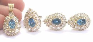 18Kt Diamond & Lonoon Blue Topaz YG Jewelry Set Ring/Pendant/Earrings Ct 13.10Ct