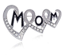 Mother's Day Birthday Gift for Mother Mom Word Heart Brooch Pin Jewelry p65c