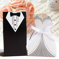 100X Tuxedo Dress Bride Wedding Bomboniere Ribbon Boxes Favor Guest Candy GiftAT