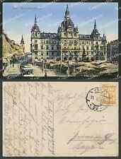 Or. AK COL. FOTO Graz Municipio uomo cieco negozi tram mercato passanti 1910