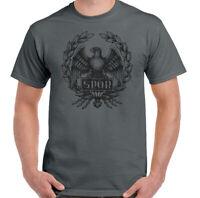 Spqr Hommes Romain Empire Standard T-Shirt Gladiateur Gym Entraînement Top Aigle