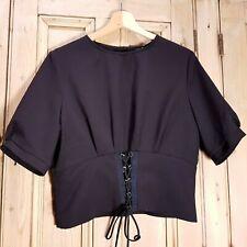 TopShop Black Lace Up Corset Blouse Top Size 14 UK Top Shop Womens