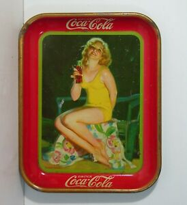 ORIGINAL 1932 COCA-COLA TIN LITHOGRAPH ADVERTISING TRAY - YELLOW BATHING SUIT