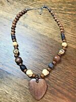 """80s Vintage Chunky Wood Beads Heart Boho Beach Statement Necklace 18""""-20"""""""