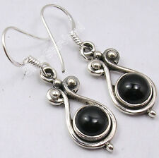 "Trendy Vintage Style Dangle Earrings 1.4"" 925 Pure Silver Dazzling Black Onyx"