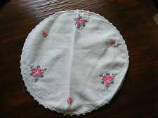 Beautiful  Embroidered Table Linen Doily Crochet Trim Floral 9 1/2 Inch NICE