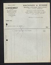 """MONTLUCON (03) MACHINES à ECRIRE & à CALCULER """"A. BAYLE & BAILLY"""" en 1936"""
