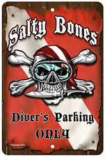 "Salty Bones Metal Parking Sign Scuba Diver 12""x8"" Skull Pirate Plaque Dive Flag"