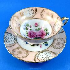 Pedestal Peach Border with Rose Center Shafford Tea Cup and Saucer Set