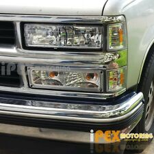 [8Pcs Chrome] 1994-1998 Chevy Silverado/Tahoe Head Light + Corner + Signal Lamp