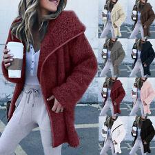 Women Plus Size Winter Long Sleeve Lapel Cardigan Sweater Casual Jacket Coat UK