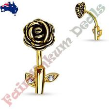 316 surgical Steel Gold Ion Plated Rose Stem Belly Ring with CZ Gem Leaves