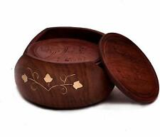 Wooden Lotus Tea Coaster Set of 6 Plate with Stand Dining Table Serving Office