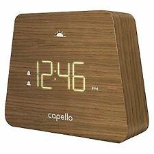 Capello Digital LED Modern Mantle Alarm Clock Wood Grain Finish New