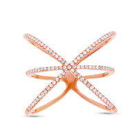 Womens 0.23 CT 14K Rose Gold Diamond Statement X Wide Cocktail Crossover Ring