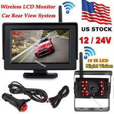 "12V-24V Wireless 4.3"" LCD Monitor +Bus Truck 18LEDs IR Rear View Backup Camera"