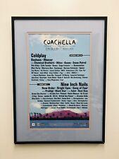 Framed 2005 Coachella Lineup Poster- Coldplay, Nine Inch Nails, Weezer, Bauhaus