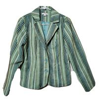 Erin London Blazer Teal Jacket Tapestry Acrylic Striped Vintage Womens Small