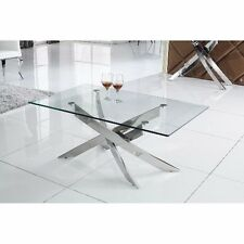 Glass Coffee Table Furniture Living Room Modern Chrome Stainless Steel Frame New