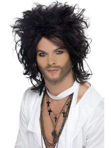 Russel Brand Wig Rock & Roll Black Adult Men's Fancy Dress Costume Accessory