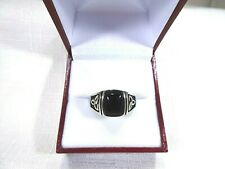 Men's Created Black Onyx Solid Sterling Silver Triquetra Celtic Knot Ring-12 1/2