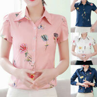 Women's Blouse Floral Printed Tops Lapel Button Long/Short Sleeve Shirt Blouse A