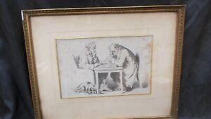 ancienne gravure joueurs d'échecs gravé par Vibert  encadrement bois sous verre