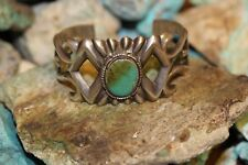 OLD PAWN WILSON BEGAY NAVAJO CUFF SAND CAST BRACELET, BLUE GEM TURQUOISE. 925