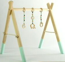 Wooden Baby Gym Play boho mat arch baby shower HANDMADE in UK frame & set toys
