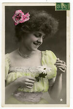 c 1910 Vintage Glamour SMILNIG FRENCH BEAUTY tinted antique photo postcard