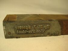 YOUNGSTOWN OHIO SHEET AND TUBE COMPANY PRINTING BLOCK-H J SPOERER VICE PRESIDENT