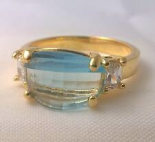 G-Filled Ladies 18k gold simulated diamond light blue topaz ring US size 7 AUS O