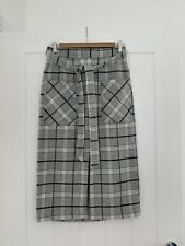 Asos Grey Checked Wool Blend Skirt Size 10