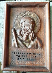 St. Benedict 009 - Sacred Art Carving 009  14.5 in. x 10 in