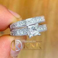 14k White Gold Forever One Princess Moissanite Diamond Engagement Ring Band 2.40