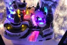 christmas villages fibre optic with skaters and train  LEDS