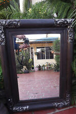 Bali Mirror. Brown Frame with Flowers and Silver Corners.