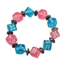 Stretch Dice Bead Pink and Blue Bunco/Bunko Bracelet