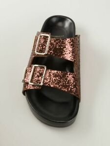 Givenchy New Authentic Swiss Glitter Double-Buckle Sandals